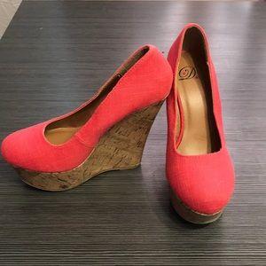 Shoes - coral color cork wedges